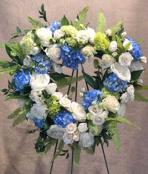 Blue Funeral Wreath Flowers And Flowers Darien Connecticut Ct